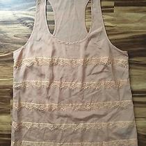 Forever 21 Tank Top Shirt Blouse Beige Peach Pink Blush Lace Size Medium Euc Photo