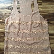 Forever 21 Tank Top Shirt Blouse Beige Peach Pink Blush Lace Size Medium Euc Photo