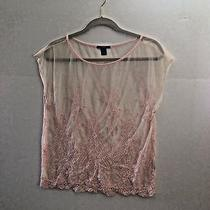 Forever 21 Top M Blush Pink Embroidered Net Scalloped Hem B19