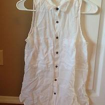 Forever 21 White Linen Button Up Tunic Tank Size Medium Photo