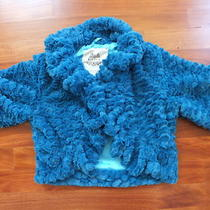Forever 21 Women's Aqua Faux Fur Shrug Cropped Jacket Size S Small Photo