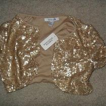 Forever 21 Womens Medium Sequined Gold Vest Photo