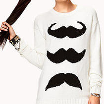 Forever 21 Womens Mustache Sweater Tunic Length Spiked Accents M Cotton Acrylic Photo