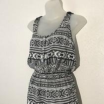 Forever 21 Womens Romper S Black White Tribal Aztec Print Button Front Crocheted Photo