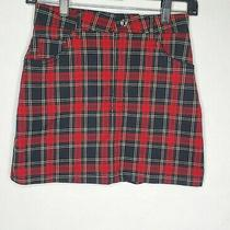 Forever 21 Womens Small Red Plaid Skirt Pockets Photo