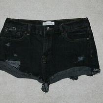 Forever 21 Womens Sz 28 Girlfriend Black Denim Distressed Shorts Grunge Festival Photo