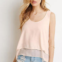 Forever 21h/m American Peach Chiffon-Layered Tank Top Apparel Size M Photo