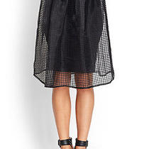 Forever 21h/m Black Grid Printed Midi Skirt American Apparel Size S Photo
