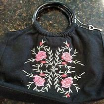 Forever by Fossil Black Purse/handbag W/embroidered Pink Flowerscleancuteveuc Photo