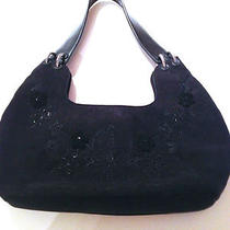 Forever by Fossil Black Suede Handbag Purse Flowers Cute Medium Euc Nice Photo