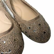 Forever Comfort Ballet Flat Shoes Womens Size 8 Silver Studs Blush Beige Suede Photo