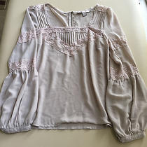 Forever Love 21 Lace Blush Colored Blouse Boho Bohemian Top Sz Small Photo