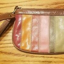 Fossil 100% Genuine Multi-Colored Stripe Leather Wallet Wristlet i.d.slots Nwot Photo
