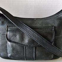 Fossil 1954 Beautiful Black Pebbled Leather Hobo / Satchel / Handbag in  Vguc Photo