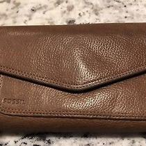 Fossil 1954 Brown Leather Checkbook Trifold Wallet Clutch Organizer Photo
