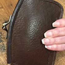Fossil 1954 Brown Leather Kiss Lock Coin Purse Card Holder Clutch Wallet Photo