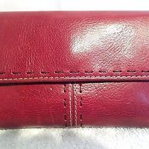 Fossil 1954 Burgundy Wine Red Leather Antique Silver Medium Triflold Wallet Photo