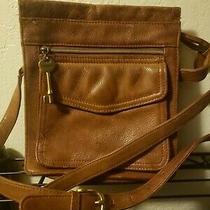 Fossil 1954 Crossbody Tan Soft Pebbled Leather Messenger Hand Bag W-Key 75082 Photo