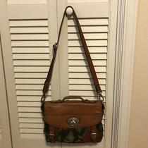 Fossil 1954 Maddox Chestnut Brown Leather Tapestry Satchel Messenger Bag Photo