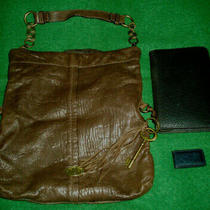 Fossil 3 Lot Brown Leather Bag Tote  Black Leather Planner Wallet  Money Clip Photo