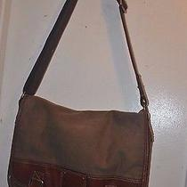 Fossil 54  Canvas & Leather Messenger Briefcase Laptop Shoulder Bag Photo