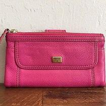 Fossil 70 Textured Leather Top Zip Organizational Bifold Clutch Wallet Photo
