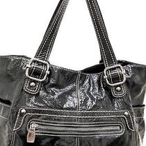 Fossil 75082 Black Patent Leather Xl Slouchy Tote Shopper Shoulder Bag Purse Photo