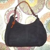 Fossil 75082 Black Shoulder Bag Purse Wood Key Fob Photo
