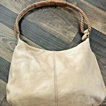 Fossil 75082 Tan Pebble Leather Shoulder Bag Purse Braided Handles Water Stains Photo