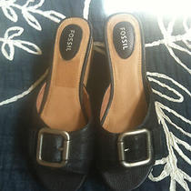 Fossil 8.5 Slide on Sandals Wedges Platforms Leather Cork Photo