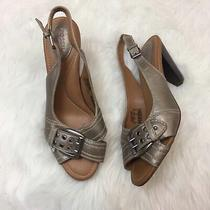 Fossil 9 Womens Taupe Metallic Slingback Buckle Stacked Heels  Photo
