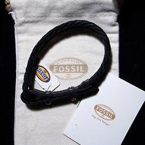 Fossil Adjustable Length Black Braid Wrap Leather Bracelet Ja5925716 Photo