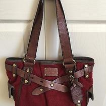 Fossil Adrina Wine Red Wool Like Fleece  Leather Trim and Handles Satchel Tote Photo