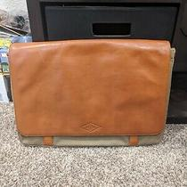Fossil Aiden Messenger Brown Genuine Leather & Sage Canvas Laptop Bag New  Photo