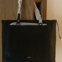 Fossil Ana  Leather Tote Shoulder Bag Black New With Tags Great Size Msrp 198 Photo