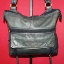 Fossil Aspen Teal Textured Leather Zip Hobo Convertible Cross-Body Purse Bag Photo