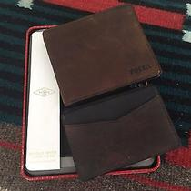Fossil Austin Bifold Brown Leather Wallet & Card Case  Ml3707200 Metal Gift Tin Photo