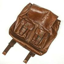 Fossil Authentic Brown Leather Backpack Rucksack Satchel Drawstring Photo