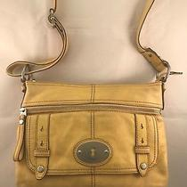 Fossil  Authentic   Yellow Cowhide Leather Cross Body Messenger  Bag 10