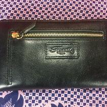 Fossil Authentic Zip Around Wallet Purse Id Cards Holder Black Leather Photo