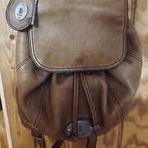 Fossil Backpack Black Leather Drawstring Flap Purse Long Live Vintage Photo