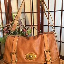 Fossil Bag Briefcase Book Bag Purse Tan Leather Brass Hardware Photo