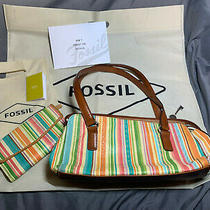 Fossil Baguette Shoulder Handbag & Clutch Stripe Fossil Zb7023 Gift Set Photo