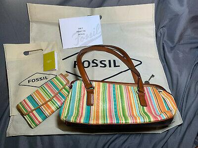Fossil Baguette Shoulder Handbag & Clutch Stripe Fossil ZB7023 Gift Set Photo
