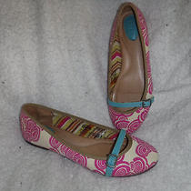 Fossil Ballet Flats Canvas Pink & Aqua  Women's Sz 7 M Photo
