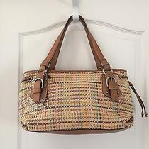 Fossil Basketweave Shoulder Bag Handbag Purse Tan Brown Photo