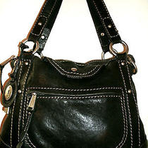 Fossil Beautiful  Medium Black Leather Shoulder Bag With Contrast Stitching Euc Photo