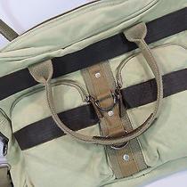 Fossil Beige Canvas Messenger Laptop Bag Briefcase Brown Leather Eagle  Photo