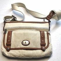 Fossil Beige Cream Canvas & Brown Leather Messenger Shoulder Purse Handbag Photo