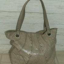 Fossil Beige Glitter Suede Leather Tote Bag Purse Shoulder Gold Silver Studded Photo